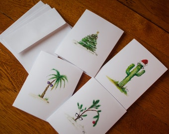 Hipster Holiday Trees- watercolor card set