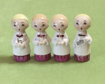 Set of 4 Small 1950's Vintage Choir Boy Figurines Made in Japan Christmas Figurines