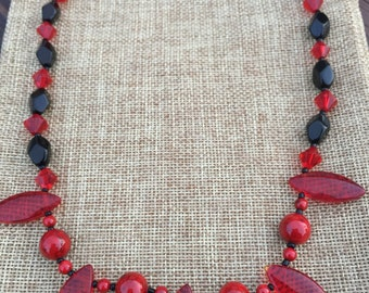Ruby and Black Glass Necklace