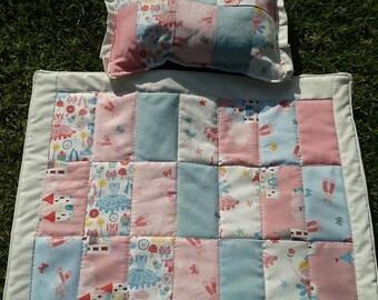 Dolls Pram /Cot quilt & matching pillow