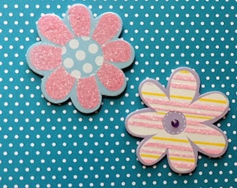 Painted wooden flower duo