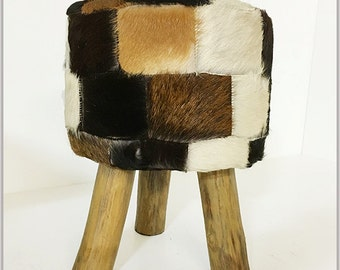 Stool Patchwork Ottoman made of Fur