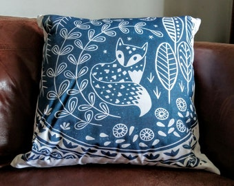 Daniel Fox cushion cover in midnight blue, scandinavian folk art woodland animal linocut print