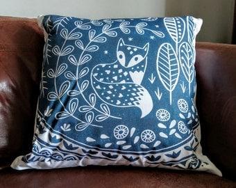 Daniel Fox cushion cover in midnight blue, scandinavian folk art woodland animal linocut print