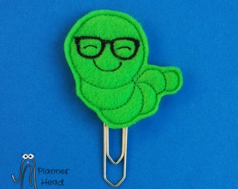 Bookworm paper clip / planner clip, geeky bookworm, bookworm bookmark, felt bookworm, caterpillar felt paper clip