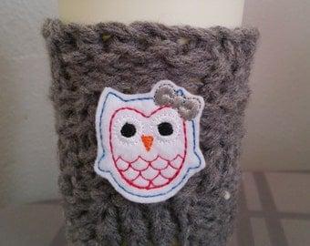 Red, blue, and white owl cup or mug cozy/ grey/ coffee sleeve/ mug cozy