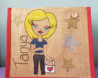 Medium sized personalised jute bag/personalised womens/personalised childs/ personalised teens bag/ lunch bag/ back to school/ work/