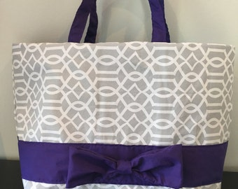 Grey patterned canvas tote with purple bow