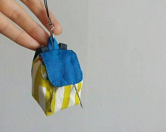 Blue * Handmade miniature backpack with removable strap