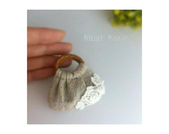 Handmade miniature linen and flower lace bag
