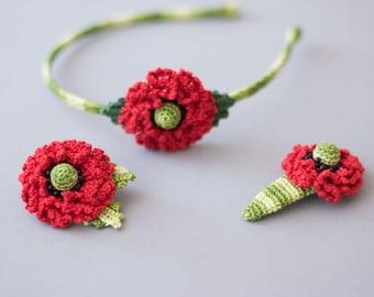 Set of crochet alice band, hair clip, brooch, hairband,crochet headband, crochet hair clip, crochet brooch, crochet set, crochet flower