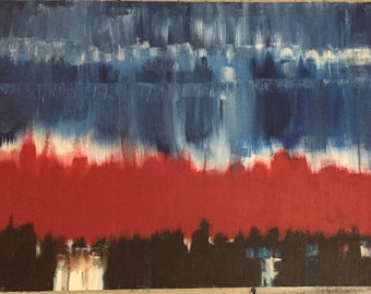 """LJKellogg Studios presents this Large acrylic on canvas 24 x 36  """"City"""" red, blue, black and white"""
