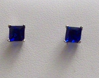 Simulated Blue Sapphire (Square) Stud Earrings in Sterling Silver Nickel Free