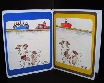 Two Jack Russell  blank birthday cards