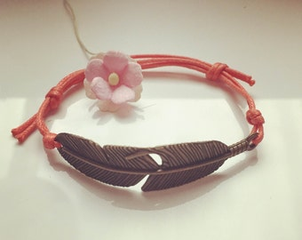 Bracelet with large spring salmon, waxed cotton, vintage, statement, blogger, feather, fly, freedom