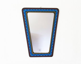 Reserved for Abbasi-Retro blue mirror with dots-Rockabilly mirror-Vintage Interior