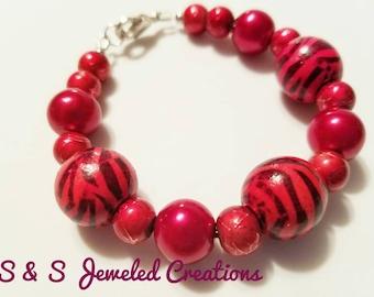 Red Beaded Bracelet with Zebra Print
