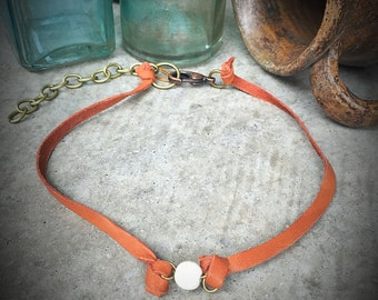 Leather choker necklace - white turquoise - bigshotcowgirl