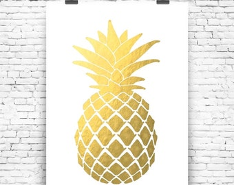 Art Print Pineappel Gold Art