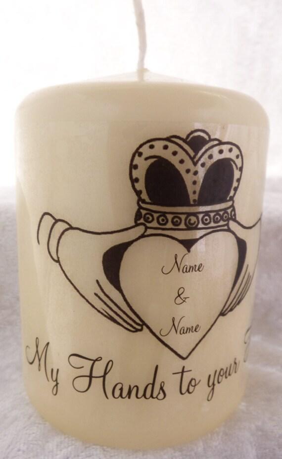 Personalised Wedding Gift Ireland : InchPersonalised Candle Irish Claddagh Wedding Gift (Group 1)