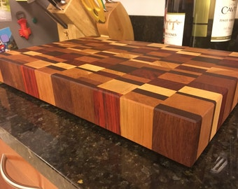 "End Grain Butcher Block Cutting Board - 2"" Thick - Unique Pattern"