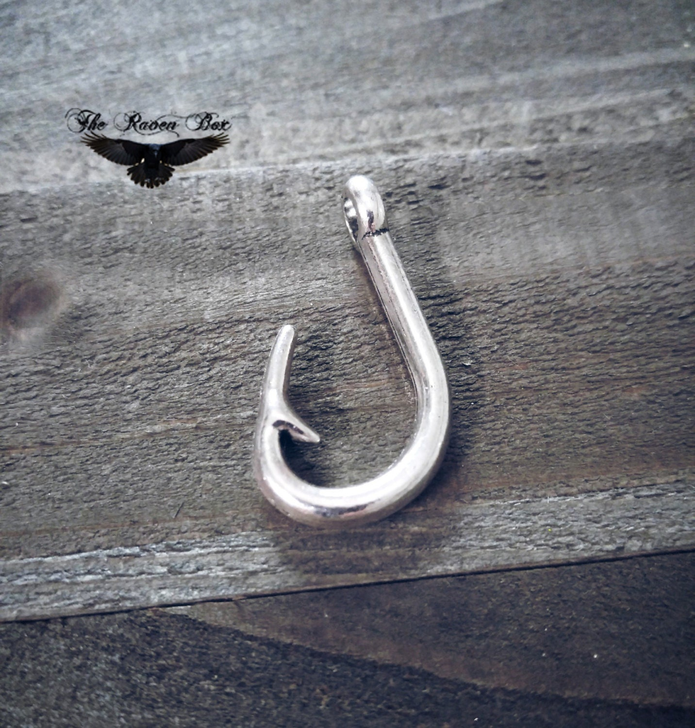 Fishing hook charm pendant large fish hook fishing charm for Fish hook charm