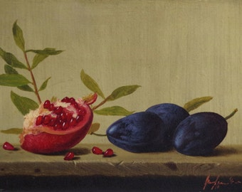 Still Life oil Painting, Fruits, Pomegranate, Original Handmade art, Classic art, Painting for kitchen, One of a Kind