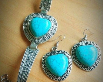 turquoise heart set