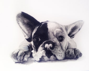 Watercolour French Bulldog Print, Animal Art, Frenchie, Bedroom Art, Babies Nursery Art, Ready to Frame