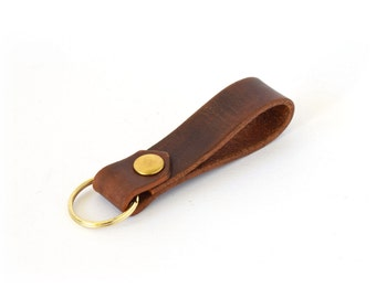 "Leather Keyring - Leather Keychain - Quality Vegetable Tanned Leather - Personalised Keychain - ""Týr"" -  Dark Brown - Handmade in UK"