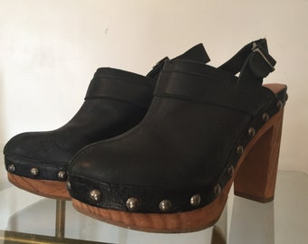 Top Shop Leather Clogs Made in Spain