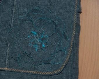 Small handbag with fabric flower