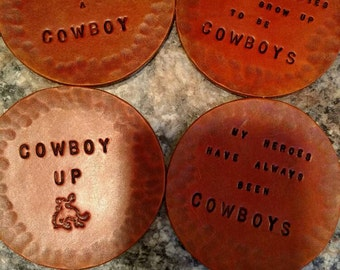 """Leather """"cowboy"""" coasters with cow print backing"""