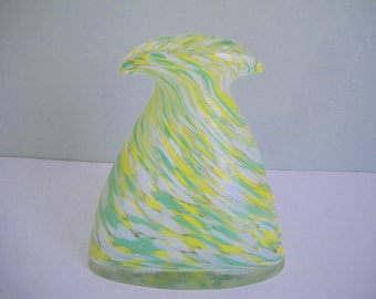 Art Glass Vase in Yellow, Green, and White