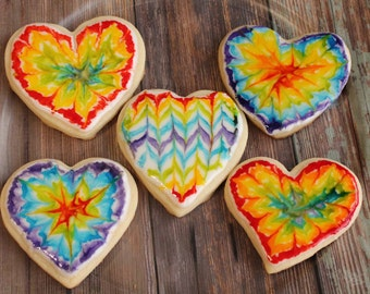 Tie Dye, Tie Dye Cookies, Rainbow, Heart Shaped Cookies, Sugar Cookies, Birthday, Cookies, Valentine's Day, Love