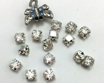 """Loose Rhinestones, Set of 15 (3mm) and Dragonfly Button with Rhinestones 1/2""""  -2216-R004"""