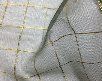 "Fabric Remnant Grey and Metallic Gold Chiffon, 42"" x 19""  -2273-R005"