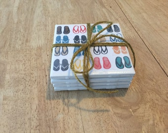Handmade tile coasters