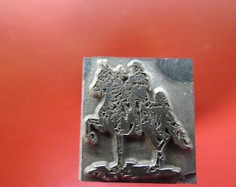 Vintage Zinc/Lead Printing Block -Millitary General on Horse