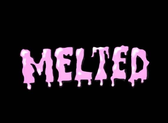 black melted logo sticker
