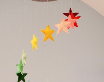 Large Rainbow Stars Mobile - MADE TO ORDER mobile,crib mobile,baby mobile,hanging decoration,gifts for baby,nursery mobile,nursery decor
