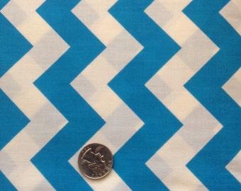Blue and White Chevron Cotton Sale Fabric