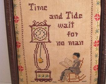 Vintage handmade Time & Tide cross stitch in frame