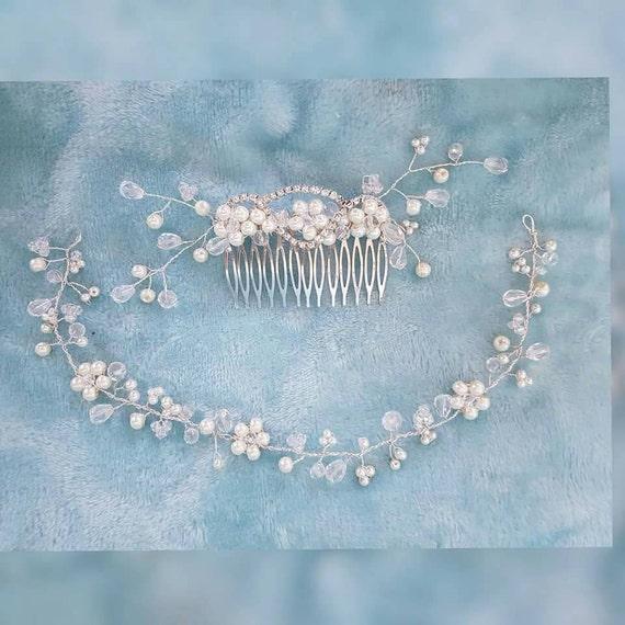 Bridal comb and hair vine / pearl hair slide /pretty hair vine /Bridal hairpiece