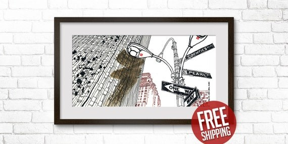 NEW YORK, Manhattan, Downtown, Giclée Print, One Way Sign, Color Ink & Acrylic Paint, Fine Art Poster, Home Decor, FREE Worldwide Shipping!