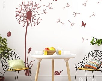 Wall sticker flower with flight seeds butterflies dandelion wall stickers wall sticker wall art sticker decal room realisations w316