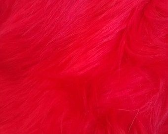 Shaggy Faux Fur / Red Fabric by the yard (Z2)