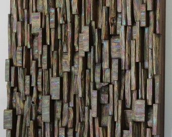 "Wood Art Sound Diffuser. ""Magic Forest"" 24″ x 24″ x 4″."