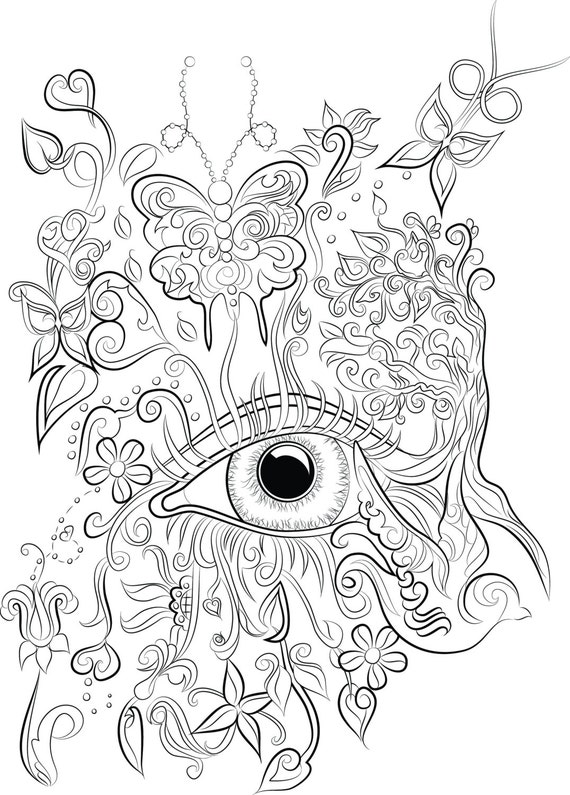 adult coloring pages download | Eye design colouring page Instant download to print and colour