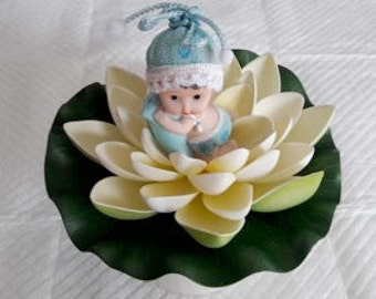 Exclusive Signature Lilly Pad Baby Boy Cake Topper by Lola All Rights Reserved